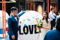 Samuel and April's DIY-Filled Red, Blue and Yellow Wedding