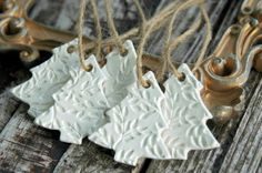 PRE-ORDER . Set of 5 . Christmas Tree Ornaments . Handmade Clay Ornaments . Christmas Decorations . Rustic Primitive . Gift Wrap Tags