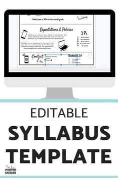 Check out this EDITABLE syllabus template for a middle school or high school secondary Spanish class! Easily edit this creative syllabus using Google Slides or Powerpoint. Perfect visual layout, without large paragraphs or chunks of text! Make sure your classroom is back to school ready with this cute template including expectations, procedures, policies, contact info, and more! Click to see more! #spanishclass #secondaryspanish Classroom Expectations, Classroom Rules, Spanish Classroom, Teaching Spanish, Spanish Lesson Plans, Spanish Lessons, Syllabus Template, Middle School Spanish, Class Teacher