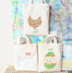 Personalised easter character tote bag by 3 blonde bears items similar to personalised set of three mini easter gift bags on etsy negle Image collections