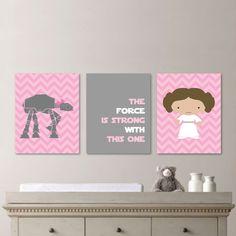 Baby Girl Nursery Print Art - Chevron Art - Star Wars Nursery Decor - Star Wars Nursery Art - Leia - Pink Gray - You Pick the Size (NS-474) on Etsy, $20.00
