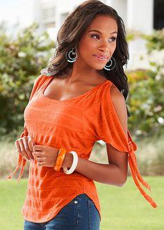 Orange Textured stripe top from VENUS. Sizes XS-XL!