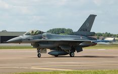Royal Netherlands Air Force F-16AM J-624 (S/N 80-3624) arrives for the Royal International Air Tattoo, England, (2014).