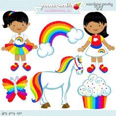 Rainbow Pretty V2 Cute Digital Clipart for by JWIllustrations