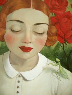 In the Wayward Garden (detail) by Amy Abshier Reyes #figurative #portrait #art