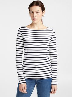 Contemporaine exclusive An ultra comfortable version of the iconic, nautical-inspired sweater Soft and light jersey knit The model is wearing size small Mannequin, Modern Fashion, Sailor, T Shirt, Knitting, Blouse, Tees, Sweaters, Women