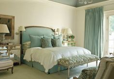 Beautiful and tranquil teal bedroom