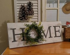 Farmhouse Style ~ Home With Wreath Sign ~ Rustic Home Sign ~ Coastal Farmhouse ~ Farmhouse Sign ~ Shiplap ~ Home Sign Decor ~ Cottage Sign – The Best Ideas Country Farmhouse Decor, Coastal Farmhouse, Farmhouse Style Decorating, Farmhouse Chic, Decorating Your Home, Diy Home Decor, Primitive Country, Country Interior, Coastal Cottage