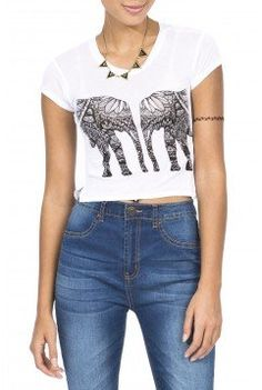 Girls 'Mirror Elephant' Graphic Crop Top from Bluenotes. #Sarnia #LambtonMall #BackToSchool