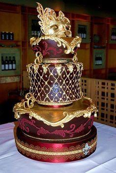 Cake Art - Gold and burgundy Venetian masquerade wedding cake. Unique Wedding Cakes, Unique Cakes, Creative Cakes, Cake Wedding, Magical Wedding, Indian Wedding Cakes, Elegant Cakes, Beautiful Wedding Cakes, Gorgeous Cakes