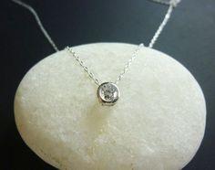 bezel set solitaire diamond look necklace in sterling silver-diamond cz solitaire necklace-tiny cz stone necklace-small diamond necklace on Etsy, $32.00