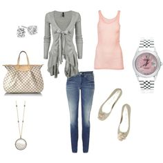 Soft and feminine pink and gray combination....comfy and cute casual outfit! :), created by kinnaly.polyvore.com