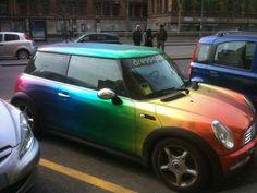 Fantastic paint job! Cool Rainbow Car.  ❤