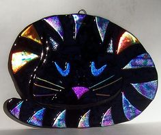 Stained Glass Black Cat Chesire Cat Pussy by Suncatchercreations