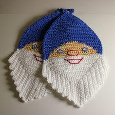 Grytekluter Crochet Potholders, Knitting For Kids, Hot Pads, Crochet Hooks, Pot Holders, Knitted Hats, Diy And Crafts, Applique, Crochet Patterns