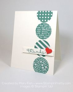 Cottage Greetings stamp set http://stampinpretty.com/2015/09/making-a-case-for-cottage-greetings.html A Watermelon Wonder heart is the perfect pop to take this thank you card to WOW!  More details & Stampin' Up! card ideas on my Stampin' Pretty blog, stampinpretty.com. Mary Fish, Independent Stampin' Up! Demonstrator.