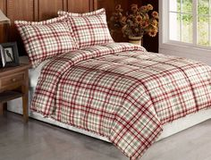 3pcs Beige Red Plaid Flannel Feel Down Alternative Comforter Set Queen /Full
