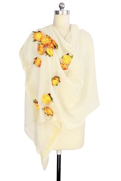 Citrine Rosettes Pearl Ivory Wool Wrap by Saachi on @HauteLook