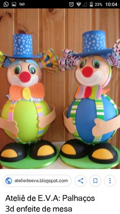Birthday Clown, Clown Party, Circus Party, Foam Crafts, Diy Crafts, Carnival Themes, Vintage Carnival, General Crafts, Disney Cartoons