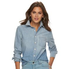 Women's Chaps Button-Down Chambray Shirt, Size: Medium, Blue