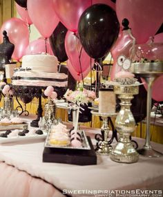 Pink and black party theme love the wall of balloons and hoe the silver makes the colors pop and adds an elegant touch