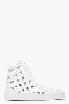 MM6 Maison Martin Margiela White Perforated Leather High-top Sneakers for women | SSENSE