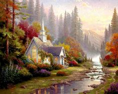 """I'm a big fan of Thomas Kinkad """"The Painter of Light"""" so in high school I painted this replica of his Forest Chapel, still don't quite know how he does . Beautiful Paintings, Beautiful Landscapes, Landscape Art, Landscape Paintings, Thomas Kinkade Art, Kinkade Paintings, Thomas Kincaid, Church Pictures, Scenery Paintings"""
