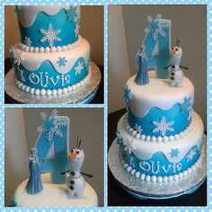 This Frozen cake is full of sweet snowy details. Source: Instagram user crazy4sweets12
