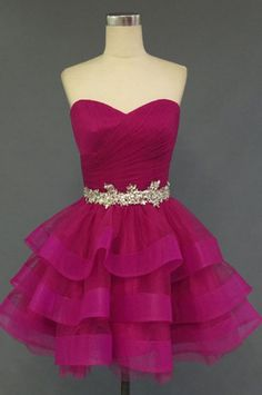 "inspiration: Magenta Pinks featuring commercial tutu forms for ChambreDuCommerce ""A line Homecoming Dresses"""