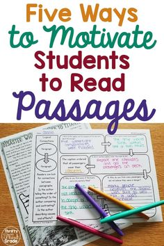 5 Ways to Motivate Students to Read Passages Reading Comprehension Activities, Reading Passages, Reading Resources, Reading Strategies, School Resources, Teacher Resources, Third Grade Reading, Student Reading, Teaching Reading
