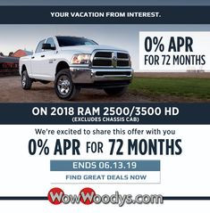 Exciting News! We are now offering 0% interest fees for 72 months on 2018 Ram 2500/3500 HD (excluding Chassis Cab) This offer ends on June, 13, 2019. Come on in and grab the best deal possible!