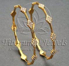 Diamond Bangle designs at Tibarumal jewellers - Latest Jewellery Designs Gold Bangles Design, Gold Jewellery Design, Gold Jewelry, Handmade Jewellery, Diamond Bangle, Diamond Jewelry, Latest Jewellery, Ring Verlobung, Schmuck Design