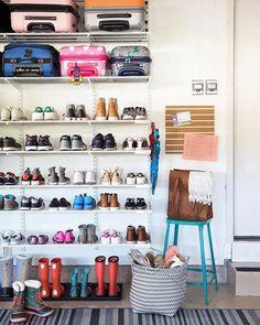 Garage mudroom Simple DIY: Floating Shelves Tutorial + Decor Ideas - simply organized Your One Year- Garage Shoe Storage, Garage Organisation, Garage Shelving, Home Organization, Shoe Rack In Garage, Kids Shoe Storage, Garage Storage Solutions, Organizing Ideas, Mud Room Garage