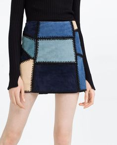 Image 2 of LEATHER PATCHWORK MINI SKIRT from Zara