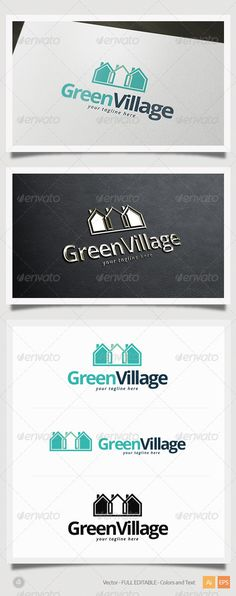 Green Village Logo  #GraphicRiver         Green Village Logo Template  This is a great logo template for real estate, construction, urban company.  – Vector 100% – Editable and Resizable  – CMYK – Print and Web Ready | 300 DPI – Easy to editable color and text