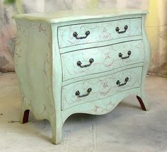 Sydney Barton - Painted Furniture: Robin's Egg Blue Chest with red Rococo Design