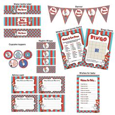 Printable Dr suess Baby Shower- Ready to Go Package. $5.90, via Etsy.