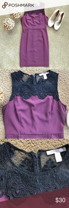 Forever 21 Formal Dress A perfect Dress to be worn for a semi-formal event or the office. Short sleeve. Has beautiful black lace designs on the neckline. Includes a zipper down the back. Only worn twice and no flaws. I usually wear a small and this fit just fine. Beautiful maroon color. Forever 21 Dresses Midi