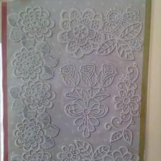 Planche de 5 stickers dentelles adhésives blanc cassé motif fleurs