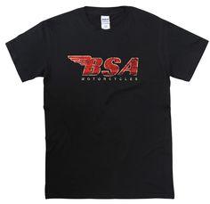 83d0cae3 BSA Motorcycle Distressed Design T Shirt Vintage Retro Gift Biker Cafe Racer