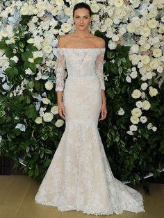 d57fa299a633 Anne Barge Spring 2019 Collection off-the-shoulder fit and flare wedding  dress with