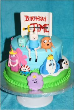 """""""Birthday Time"""" cake, inspired by Cartoon Network's Adventure Time cartoon. Follow the link to see close ups of each character."""