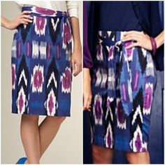 """Ikat Pencil Skirt w/o Sash -- Talbots -- Size 6 Ikat Pencil Skirt w/o Sash - Talbots - Size 6 regular -- Beautiful jewel tones -- Waist is 15.5"""" -- Hips are 20"""" -- 6"""" back vent -- 22.5"""" length -- back zipper with hook and eye closure -- fully lined -- shell 96% cotton 4% spandex - lining 100% polyester - skirt has soft sateen feel and has stretch - lining has no stretch and limits how much the skirt will stretch - No sash belt  - Skirt is in very good preloved condition - feel free to ask…"""