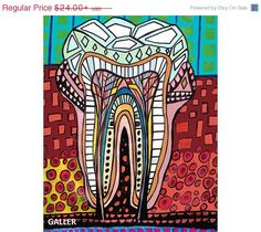 50% OFF Surreal tooth Art Print Poster of by HeatherGallerArt