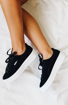 Puma Suede Platform Core Sneaker - Black from More Clothing, Shoes & Jewelry : Women : Shoes : Fashion Sneakers : shoes Pumas Shoes, Women's Shoes, Cute Shoes, Me Too Shoes, Black Shoes Sneakers, Tumblr Sneakers, Black Puma Shoes, Vintage Sneakers, Girls Shoes