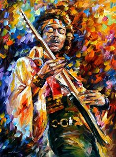 JIMI HENDRIX giving some sweet vibes painted by Leonid Afremov