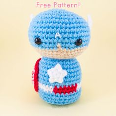 Captain America - Free Amigurumi Crochet Pattern - English Version here: http://snacksieshandicraftcorner.blogspot.com.es/2015/09/captain-america-amigurumi-pattern-free.html