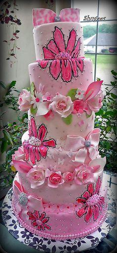 6 tier pink birthday cake