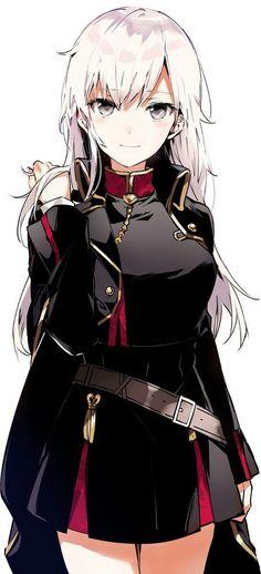 White haired anime girl