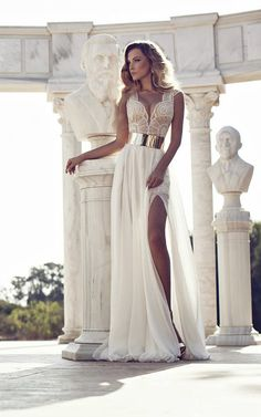 Love the gold belt ~ Wedding Dresses by Julie Vino Fall 2014    bellethemagazine.com